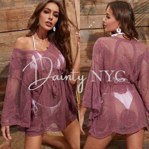 Mauve Sheer Tassel Tie  Cover Up